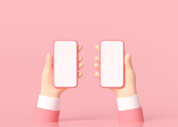 3d minimal hände halten smartphone mit einem leeren bildschirm.