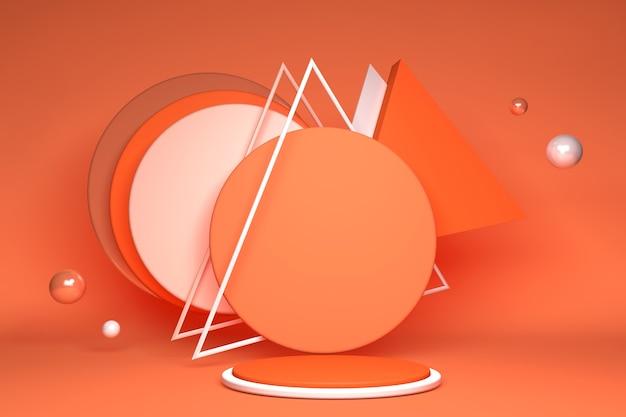 3d minimal orange podium stehen auf hellem hintergrund mit abstrakten geometrischen formen für werbung showcase für kosmetische produkte und waren schuhe taschen uhren