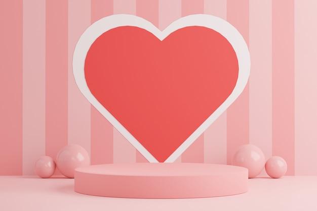 3d minimal von displays podium mit schönen herzen hintergrund zum valentinstag.