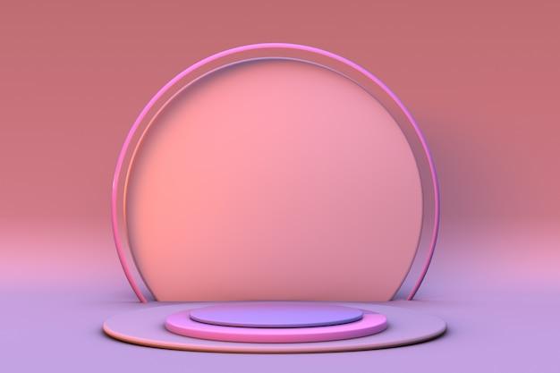 3d minimale geometrische hintergrundproduktpräsentation rundes weiches rosa podium auf pastellfarbenem hintergrund