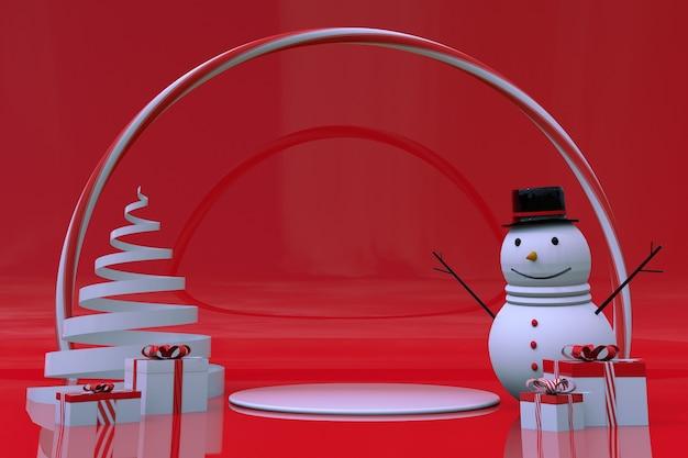 3d minimale winterszene 2022 weihnachtsbaum geschenkbox schneemann cartoon niedliches mock-up für neujahr