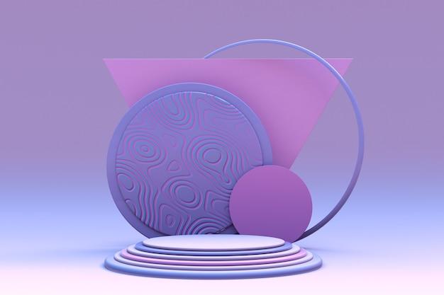 3d minimaler geometrischer hintergrund für die produktpräsentation blaues rosa podium auf pastellfarbenem hintergrund
