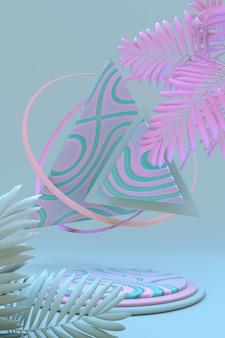 3d minimaler geometrischer hintergrund für die produktpräsentation rundes grün-rosa pastellpodest mit palme