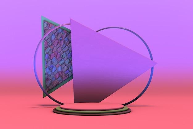 3d minimaler geometrischer hintergrund für die produktpräsentation violett-rosa-podium auf hellem hintergrund