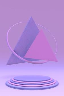 3d minimaler geometrischer hintergrund für die produktpräsentation violett-rosa-podium auf pastellhintergrund
