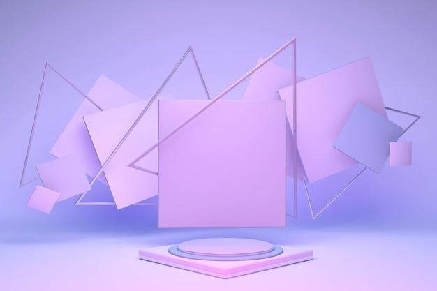 3d minimaler pastellrosa-podestständer an violetter wand mit abstrakten geometrischen formen