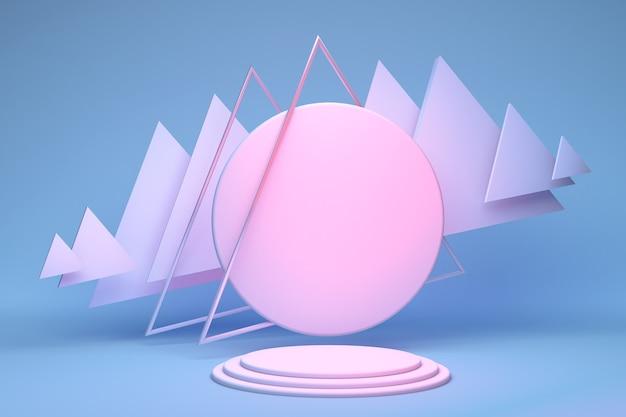 3d minimaler pastellrosa runder podeststand auf blauem hintergrund mit abstrakten geometrischen formen für die werbung für abstrakte 3d-illustrationen
