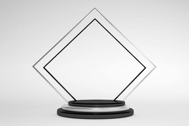3d minimales schwarz-weißes geometrisches podium isoliert auf weißem hintergrund minimale szene mit geometrischen formen