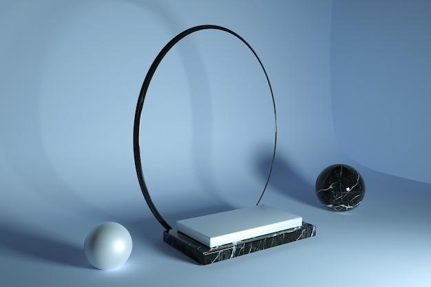 3d-minimalismus, geometrisches podium aus blauem marmor für die produktpräsentation mit rundbogen im kopierraum