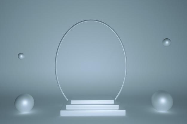 3d-minimalismus pastellblaues geometrisches podium für produktpräsentation mit kopienraum rundbogen