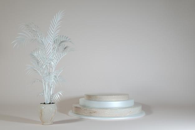 3d-minimalszene mit geometrischen formen beige marmorpodest auf pastellfarbenem hintergrund szene zum zeigen von kosmetikprodukten schaufenster-schaufenstervitrine 3d-illustration