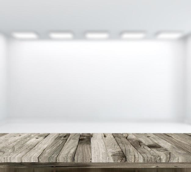 3d mit defocussed leeren weißen raum im hintergrund von einem holztisch machen