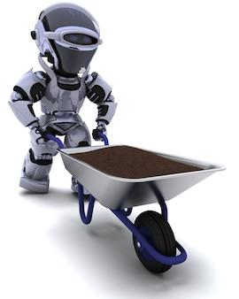 3d mit einer schubkarre tragenden boden eines roboters gärtner machen