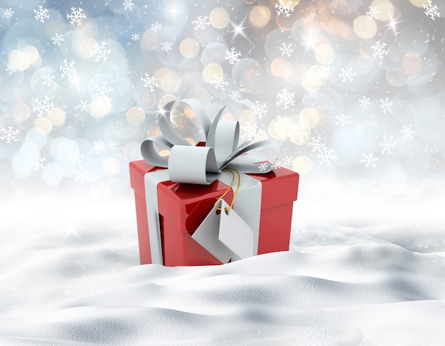 3d mit weihnachtsgeschenk von einer verschneiten landschaft machen im schnee eingebettet