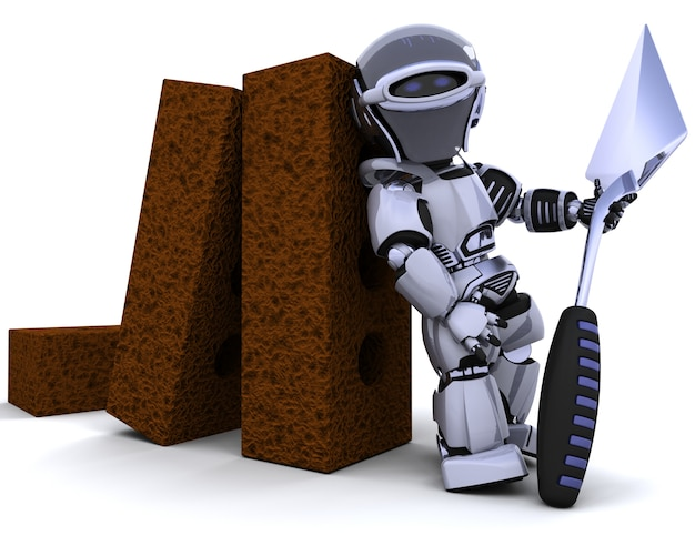 3d mit ziegelsteinen und kelle übertragen von einem roboter