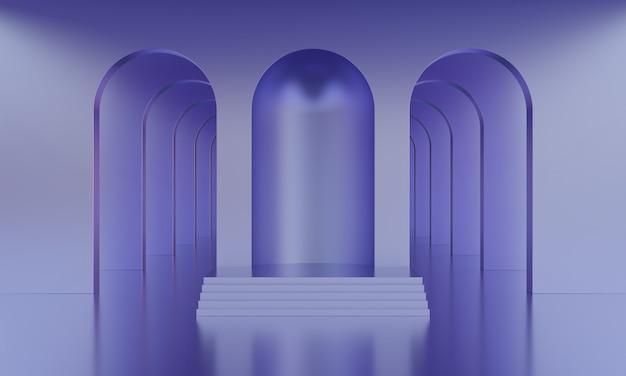 3d-mock-up-podium in einem leeren abstrakten, minimalistischen lila raum mit bögen für die produktpräsentation. stilvolles modernes plateau im mid-century-stil in einer lila farbpalette. 3d-rendering