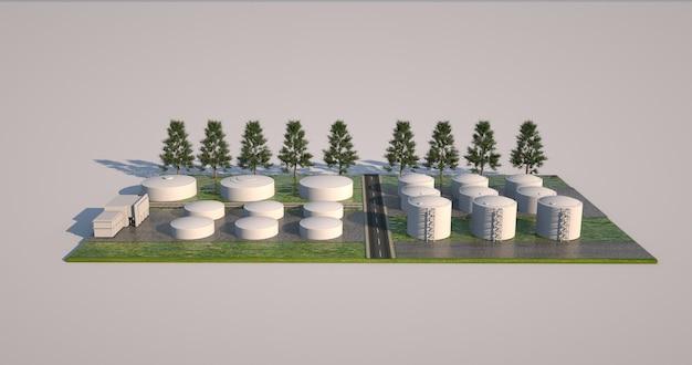 3d-modell der fabrik- und werksfläche, bauprojekt. volumetrische gestaltungselemente, anordnung von gebäuden, kesseln und bepflanzung.