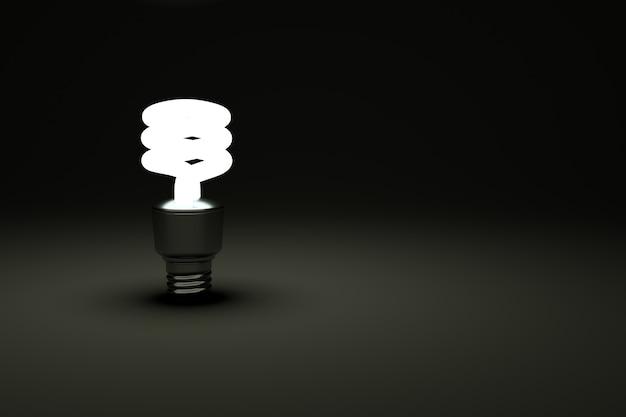 3d-modell einer spiralglühbirne auf schwarzem, isoliertem hintergrund spiralglühbirne leuchtet