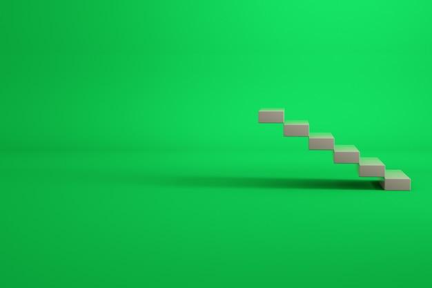 3d-modell einer treppe aus weißen ziegeln. treppen in einem leeren raum. möbel. isolierte objekte auf grünem hintergrund.