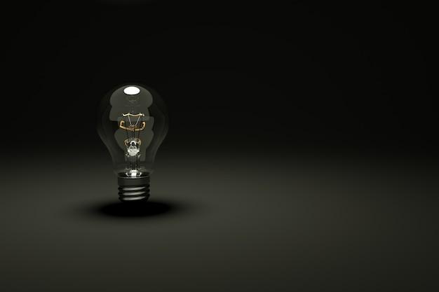 3d-modell einer unbeleuchteten transparenten glühbirne auf schwarzem, isoliertem hintergrund dunkler hintergrund
