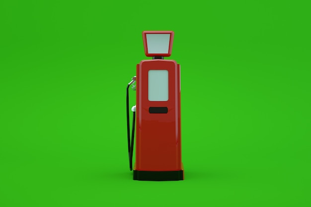 3d-modell einer zapfsäule zum betanken eines autos auf einem grünen, isolierten hintergrund. rote tankstelle für benzin. auto tanken. nahansicht
