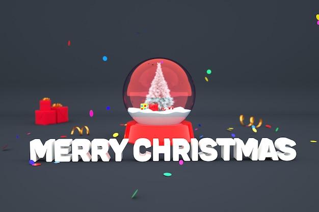 3d-modell eines dekorativen schneespielzeugballs mit weihnachtsbaum und geschenken 3d frohe weihnachten