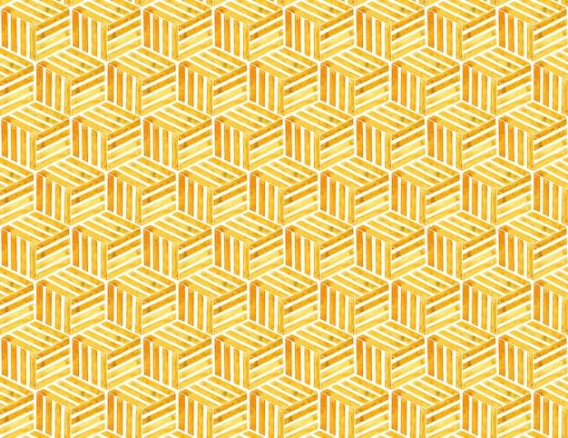 3d-modell eines gelben würfels. geometrische texturen mit optischem täuschungseffekt. isoliert auf weiß.