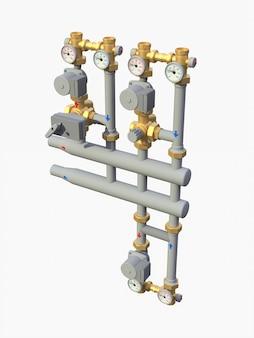 3d-modell eines industriellen pumpen- und rohrabschnitts mit absperrventilen auf weißem, isoliertem hintergrund. 3d-darstellung