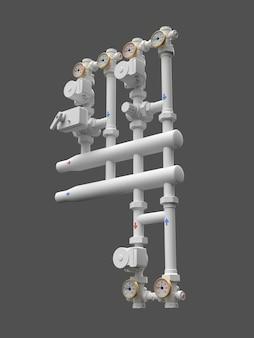 3d-modell eines industriepumpen- und rohrabschnitts mit absperrventilen. 3d-darstellung.