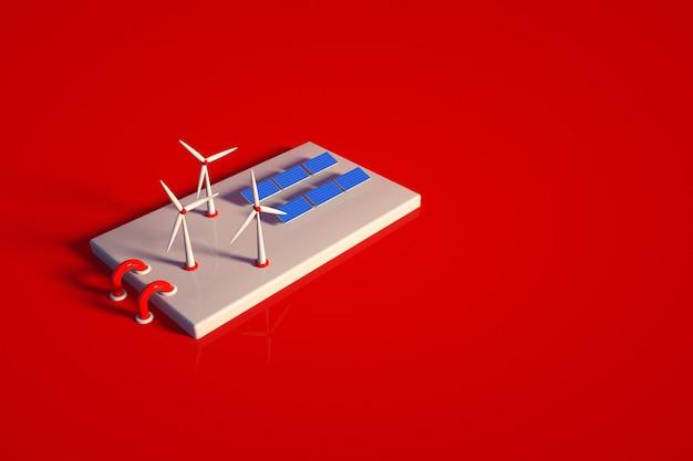 3d-modell eines kraftwerks mit sonnenkollektoren und einem windpark. solarstationsobjekt auf einem roten isolierten hintergrund. draufsicht, seitenansicht