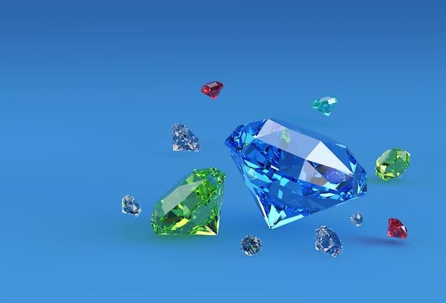 3d-modell glänzende diamantabbildung 3d-bild design.