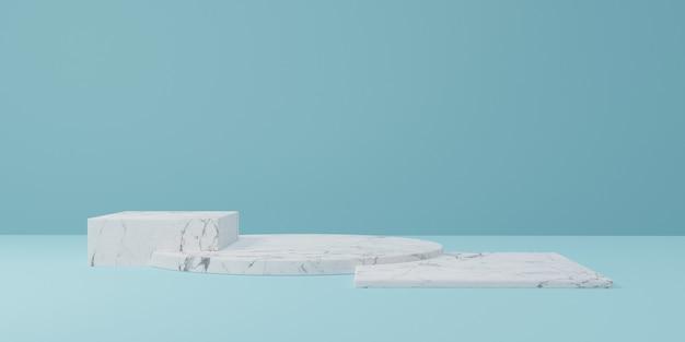 3d-modell podium marmor podium mit blauem hintergrund, 3d-rendering, 3d-illustration