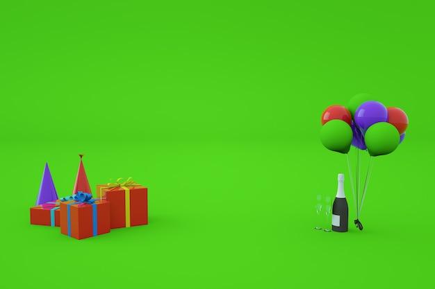 3d-modelle von festlichen bunten geschenkboxen mit geschenken und bändern, feiertagskappen, ballons