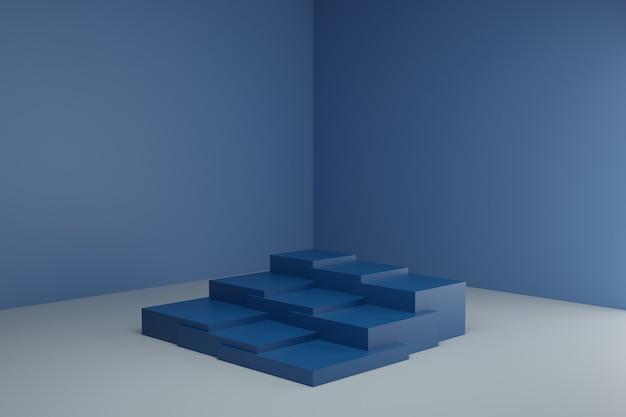 3d-modellierungsszene mit einfachen geometrischen elementen in ruhigen pastellfarben leeres schaufenstermodell