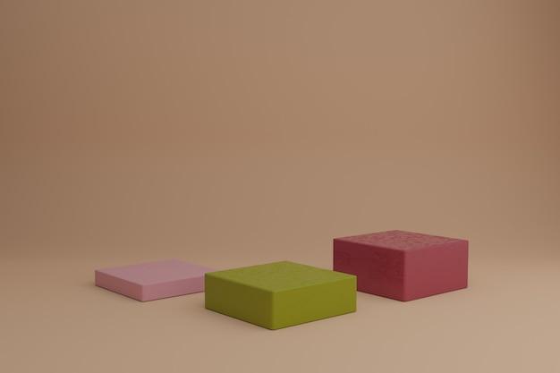 3d-modellierungsszene mit geometrischen formen in ruhigen pastellfarben leeres schaufenstermodell