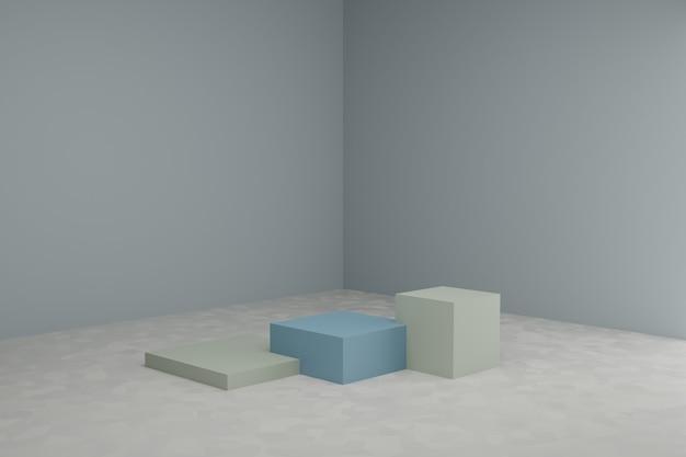 3d-modellierungsszene mit quadratischen podien in ruhigen pastellfarben einfaches schaufenstermodell