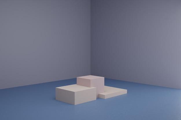 3d-modellierungsszene mit quadratischen podien in ruhigen pastellfarben leeres schaufenstermodell