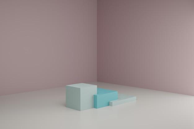 3d-modellierungsszene mit quadratischen podien in ruhigen pastellfarben