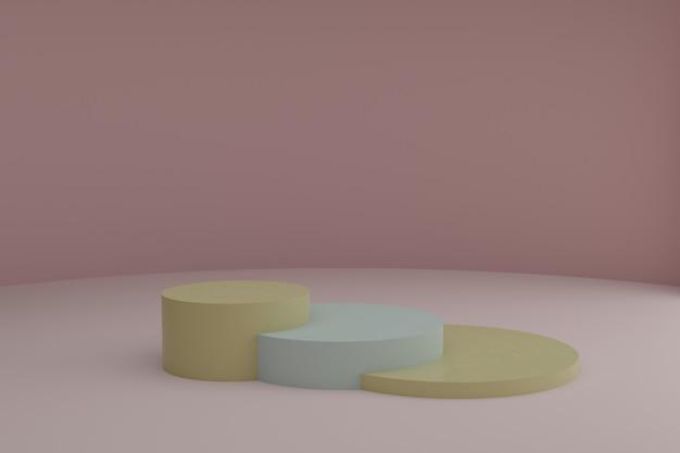 3d-modellierungsszene mit runden podien in ruhigen pastellfarben leeres schaufenstermodell
