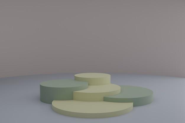 3d-modellierungsszene mit runden podien in ruhigen pastellfarben