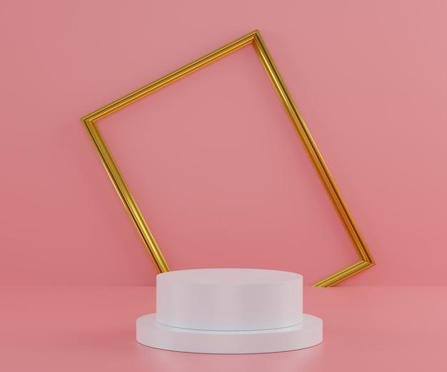 3d-modenschau-bühnenpodest mit luxuriösem goldenen rahmenhintergrund und rosa pastellwand. leere szene für produktshow.