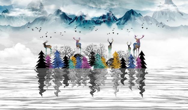 3d moderne kunst wandtapete landschaft mit dunkelblauen dschungelwald grauen hintergrund farbige bäume