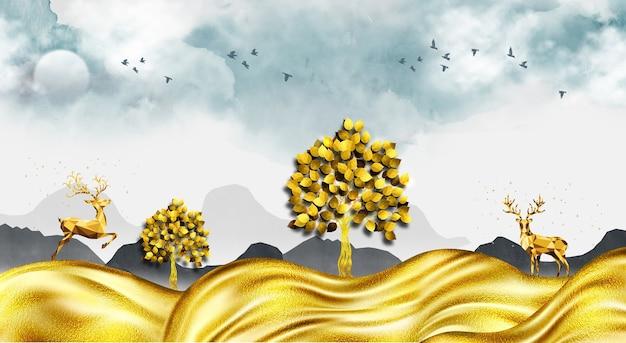 3d moderne leinwand kunst wandtapete landschaft in hellem hintergrund mit goldenen wellen goldener hirsch