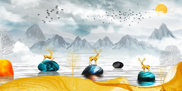 3d moderne leinwand kunst wandtapete landschaft see hintergrund goldene hirsche und weihnachtsbäume