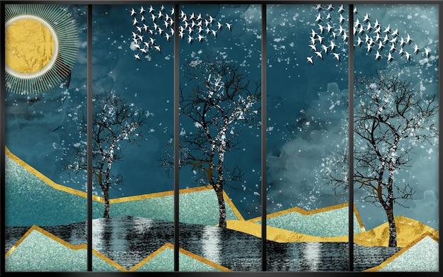 3d moderne leinwand-kunst-wandtapete mit dunkelblauem dschungelwald-hintergrund goldene sonne schwarz