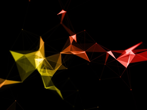 3d moderner niedriger polyplexushintergrund mit orange- und gelbtönen