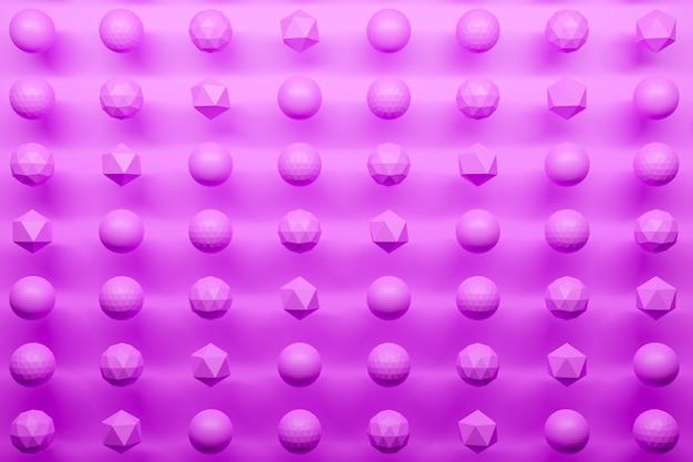 3d monochrome rosa illustration: eine reihe von geflügelten kugeln mit vielen gesichtern polygone. einfache geometrische formen in einer reihe.