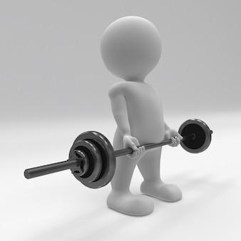 3d morph man, der mit turnhallengewichten trainiert