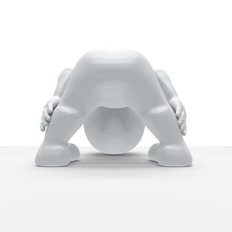 3d morph man in yoga-pose