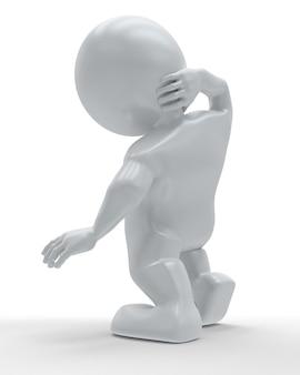 3d morph man umklammert den körper vor schmerzen